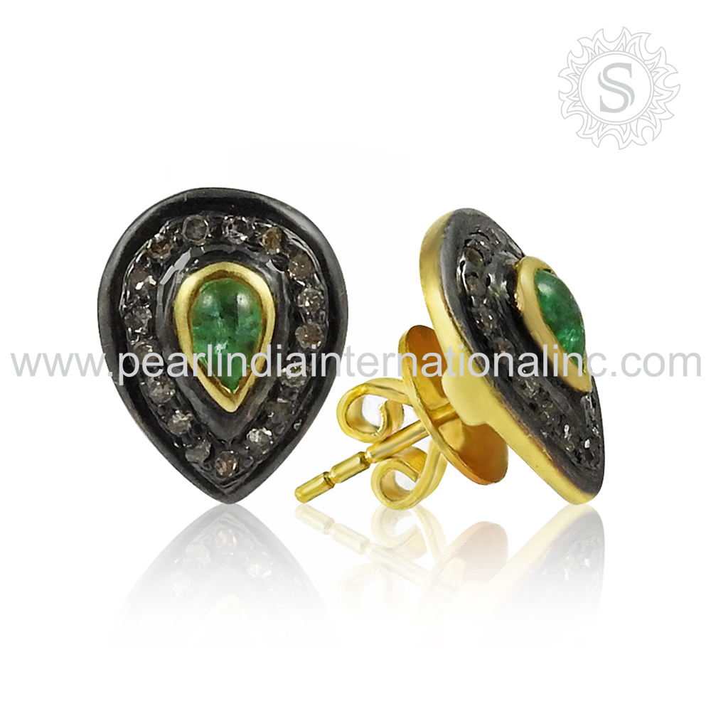 925 Sterling Silver Gold Plated Stud Earring Diamond, Emerald Gemstone Earring Wholesale Jewelry