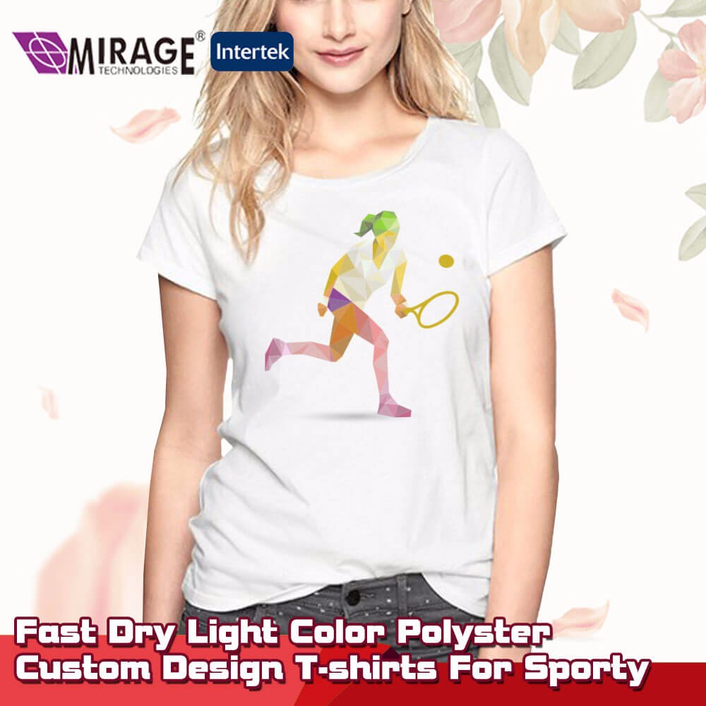 Fast Dry Light Color Polyester Custom Design T-shirts For Sporty