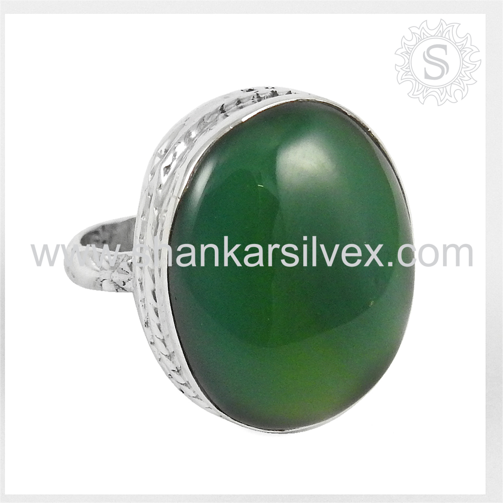 New Arrival 2017 Green Onyx Gems Ring Handmade 925 Silver Jewelry Engagement Ring Wholesale