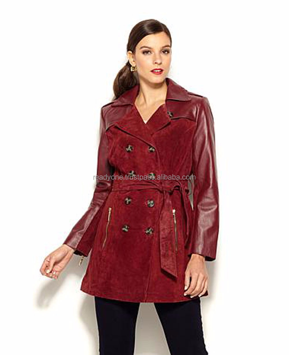 newest women long leather coat with big fur collar