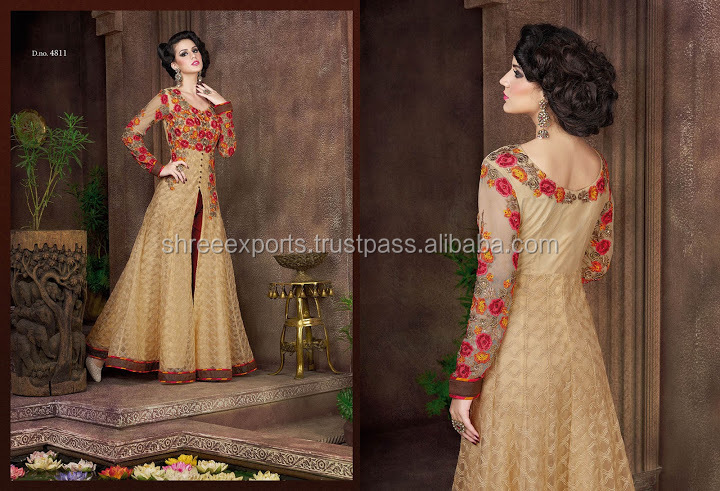 Embroidered Work Beige Net Anarkali Salwar Kameez/wholesale salwar kameez/salwar kameez designs with borders