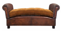 Retro Vintage style Leather Sofa without Back