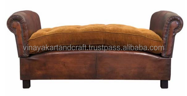 couch Vintage style Leather Sofa without Back