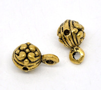Gold Tone Round Pendants / Bail Beads 12x7mm, sold per packet of 50