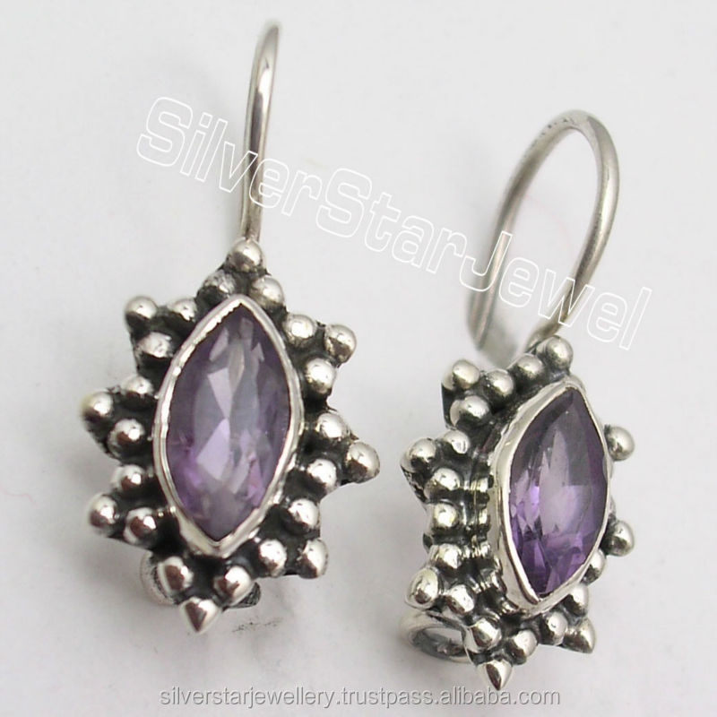 Hot Selling Latest fashion jewelry 925 Sterling Silver IOLITE Very Low Weight Lovely Dangle Earrings 2.3CM