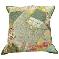 Vintage Cotton Cushion Cover Embroidered Green Pillowcase India 24