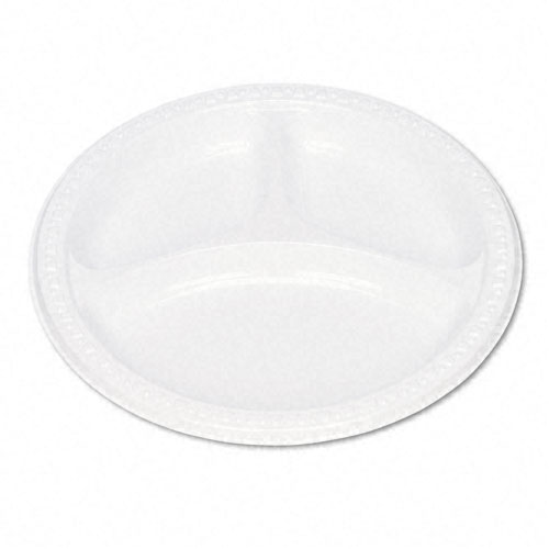 Plastic Dinnerware, Compartment Plates, 9 dia, White, 125/Pack