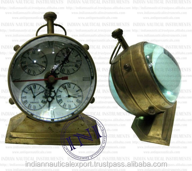 Antique Brass Table Clock, Table Clock With Compass, Vintage Brass Table Clock