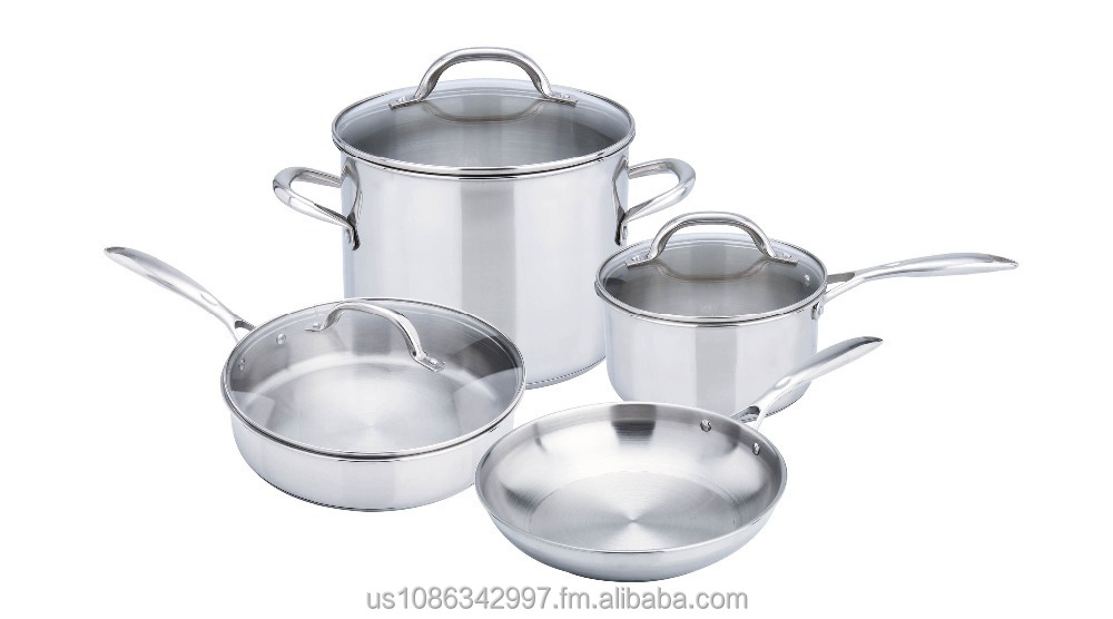 Deluxe 7PC 201 Stainless Steel Cookware set, 3 ply, induction ready