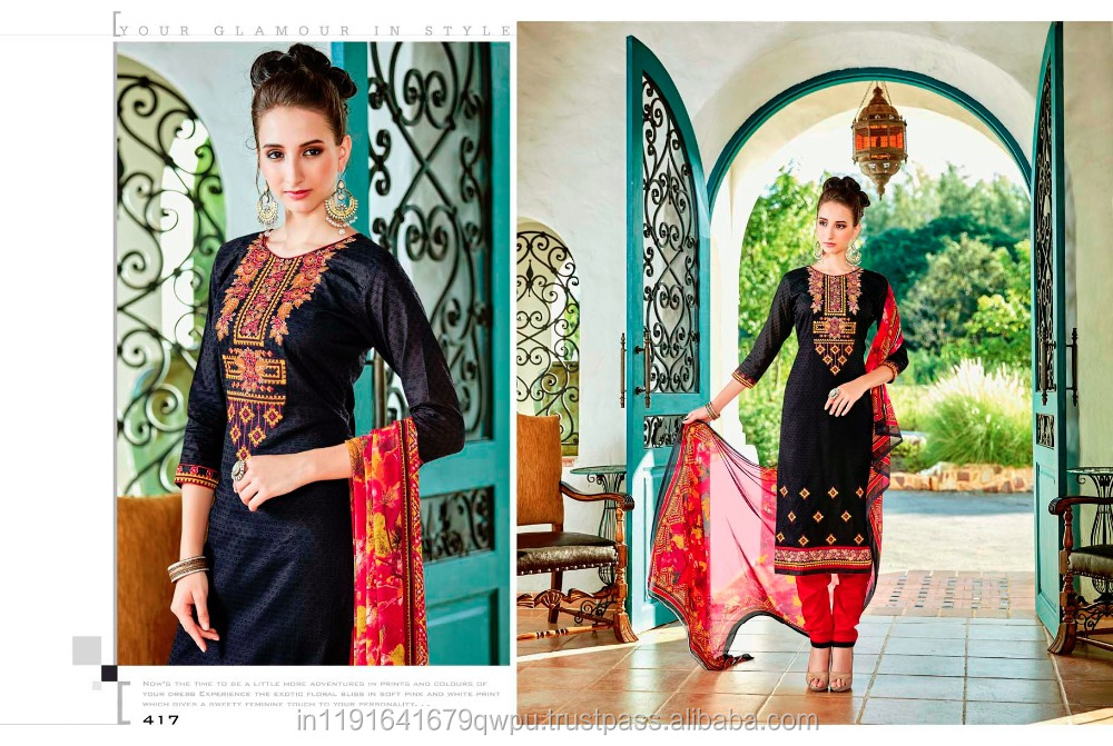 Cotton Dress Material Online Shopping In Surat Gujarat India/Embroidered Churidar Salwar Kameez For Women/Wholesaler