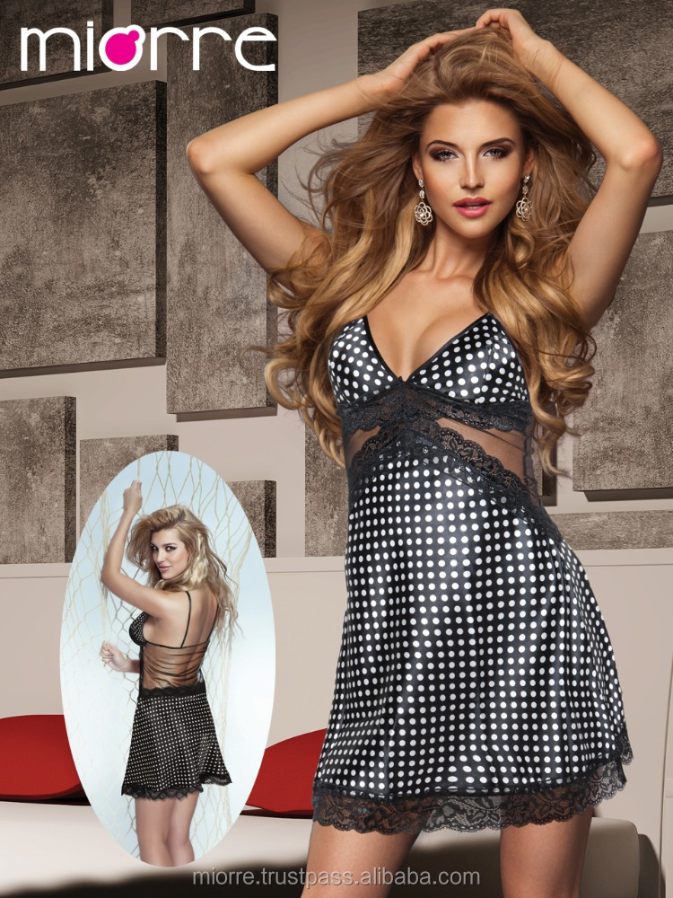 MIORRE POLKA-DOT SATIN NIGHTGOWN , LINGERIE , BABYDOLL