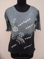 Girls & Women Knitted Cotton Hojary Fabric Used Tie Dye Printed Top's & T-shirts Wear