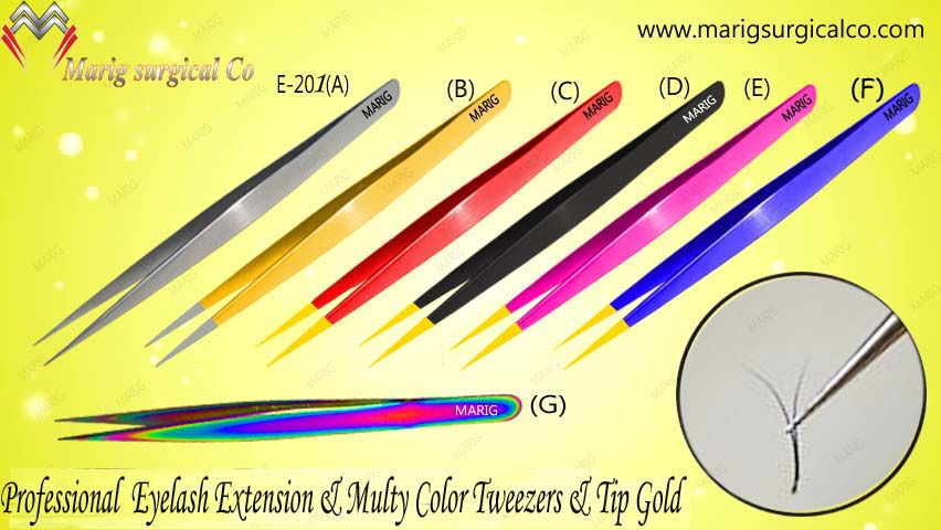 Eyelash extension Tweezers With Golden Points/Smart Tweezers Soft Spring Tweezers Frome marig Pakistan