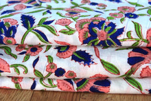 Floral Sanganeri Hand block printed pure natural cotton 100% cambric running fabric