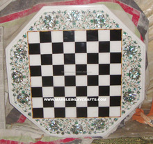 Natural Stone Marble Inlay Chess Design Table Top