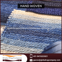 2015/16 New Hand Woven Braided Rug or Carpet In Felted Wool With Denim Look