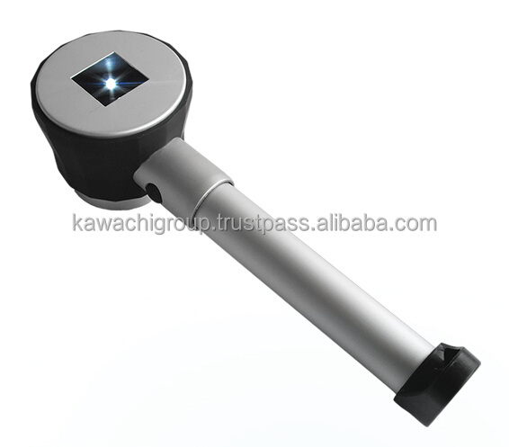Kawachi 10X LED Lighted Metal Handle Magnifying Glass with Scale Handheld Magnifier Portable Loupe with LED Light