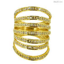 Solid 18kt Yellow Gold Pave Diamond Designer Cage Ring