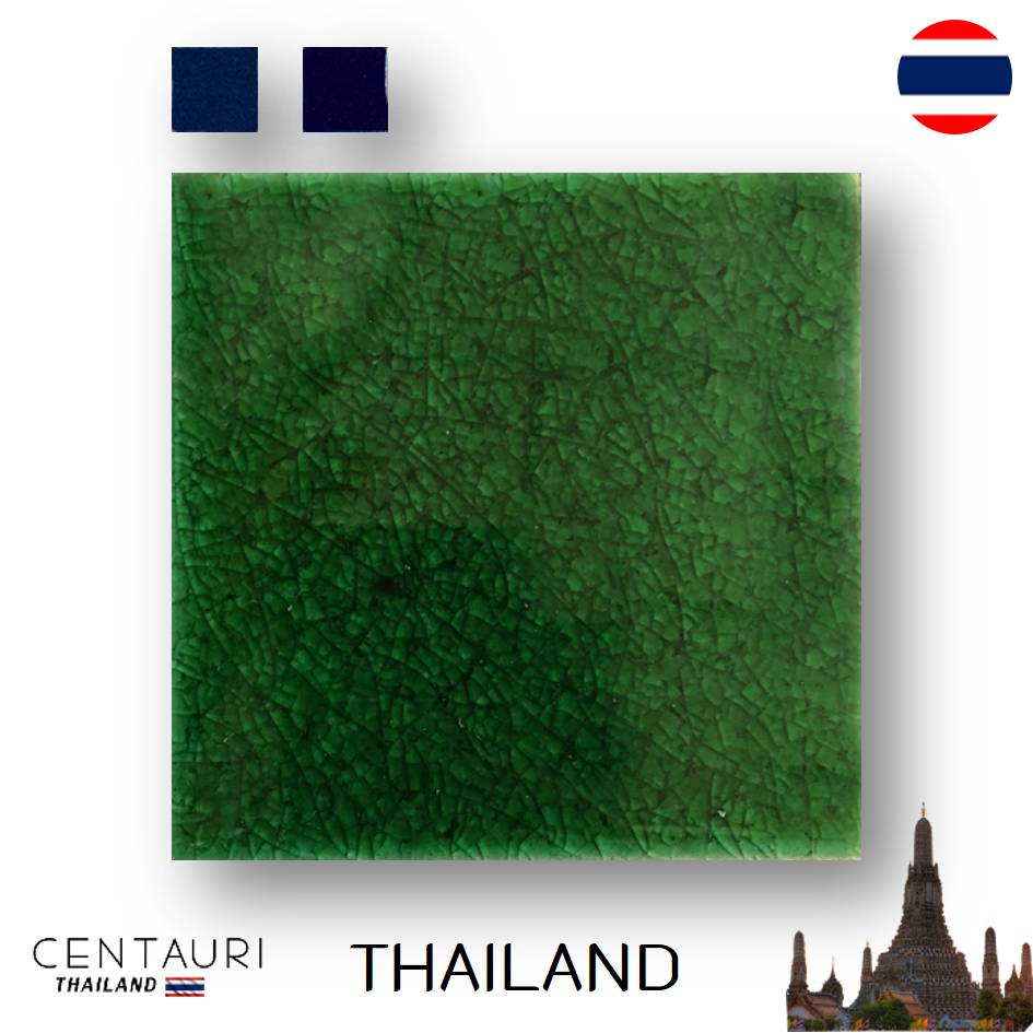 glazed 4''x4'' Square new green blue Dark blue cracked pattern Thai Ceramic swimming pool tile and tile from Thailand