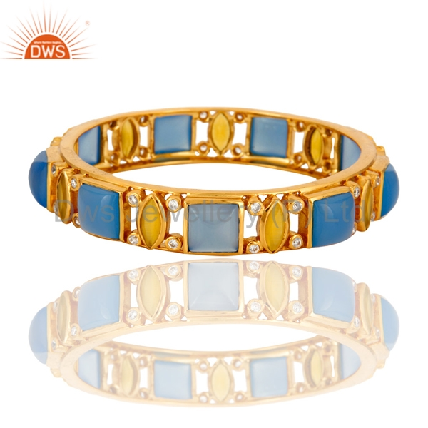 CZ and Blue Chalcedony Gemstone Bangle Gold Plated Designer Brass Bangles Manufacturers Handmade Fashion Jewelry