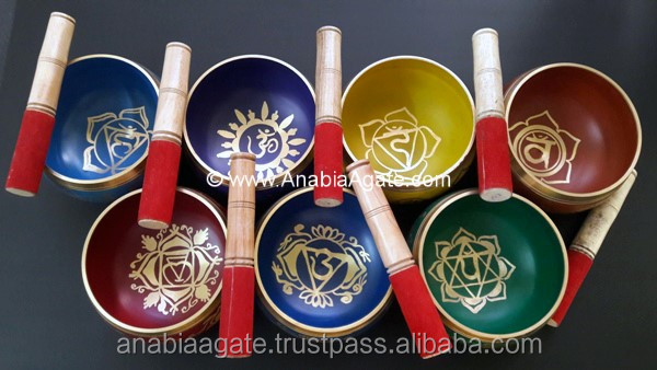 Tibetan Metal Handmade Singing Bowl with Seven Chakra Symbol : Wholesale Singing Bowl