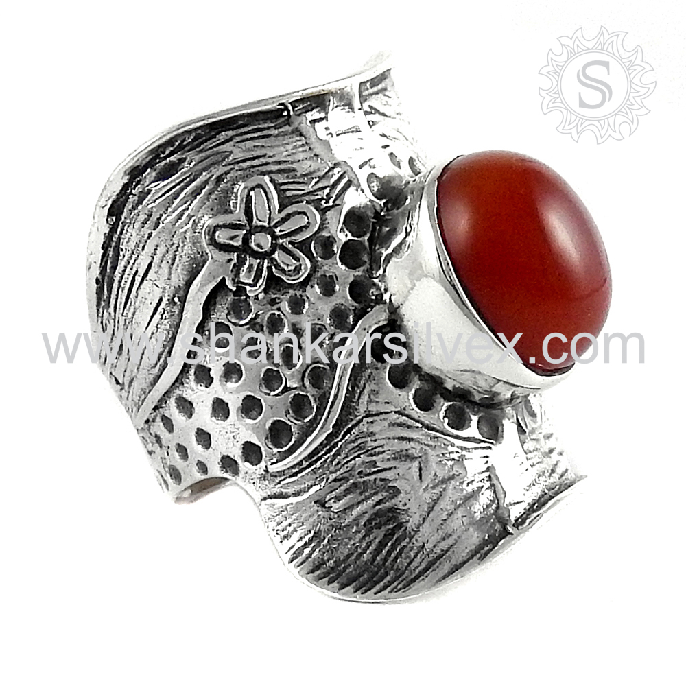 Accessories For Women Wholesale Silver Jewelry Red Carnelian Ring Sterling Silver Jewelry Supplier