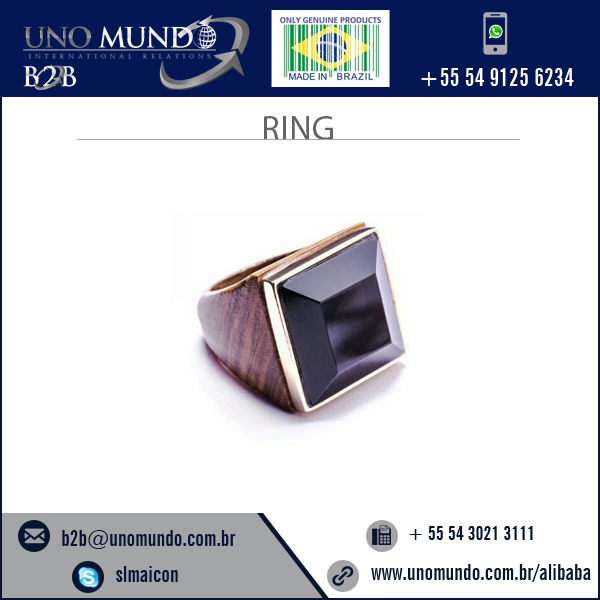Superior Look Black Wood and Stone Ring Available at Wholesale Price