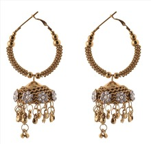 Zephyrr Fashion Jhumki Hoop Earrings Light Weight Ethnic with Stones