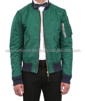 2017 New Design Embriodery green satin varsity Jacket\Wholesale Men Bomber Jacket With Good Quality For Winter Apparel