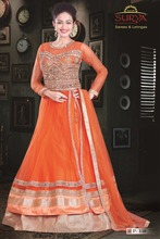 Orange color net indo westen dress with heavy zari and mirrow work on jacket