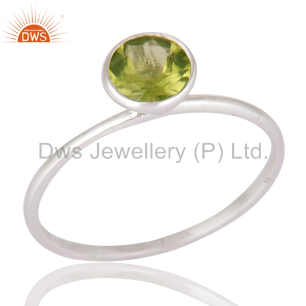 Designer Solid White Gold Natural Peridot Gemstone Ring Manufacturer of Solid gold Jewelry