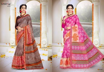 Kalamkari Cotton Silk lifestyle Sari Saree For Women
