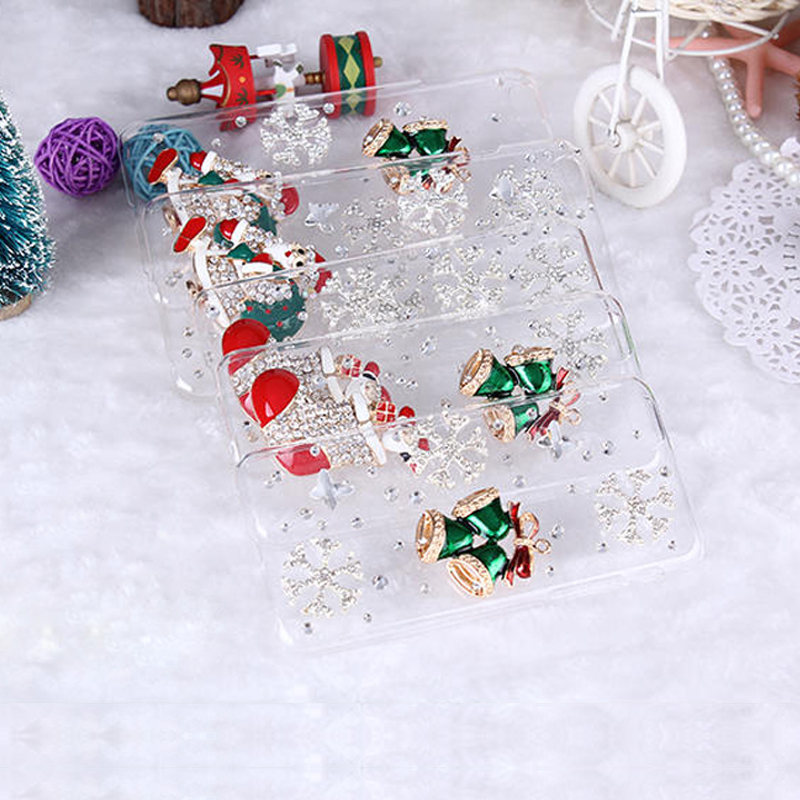 Handmade 3D Diamond Bling phone skin case cover with christmas santa claus present gift for iphone4/4s/5/5s/6/6 plus