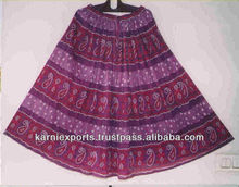2017 new design WOMENS COTTON PRINTED CRINCKLED SKIRTS in cotton voile fabrics FALDA ALGODAN indian prints ethnic african skirts