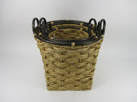 Iron liner hand woven water hyacinth food basket nice design wicker staff basket straw paper waste bin