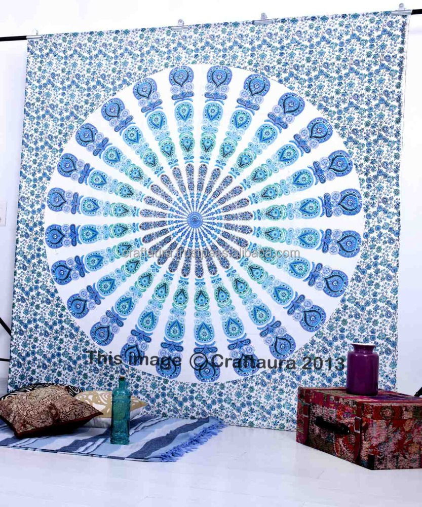 Indian Mandala Throw Tapestry Wall Hanging Queen Cotton Printed Bedspread White Bed Cover Wholesale Tapestries