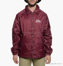Custom Designs Coach Jackets Made of 100% Nylon Polyester nylon 48% and polyester 52%