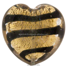 Gold Foil Murano Glass Heart Bead w/Black Stripes, 21mm - FACTORY PRICE - BEST MURANO QUALITY
