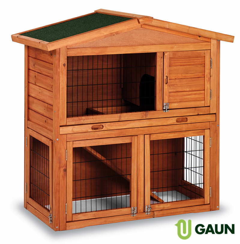 Wooden rabbit hutch. Model Praga