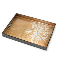 Wooden serving tray with printed designs, lacqured finishing