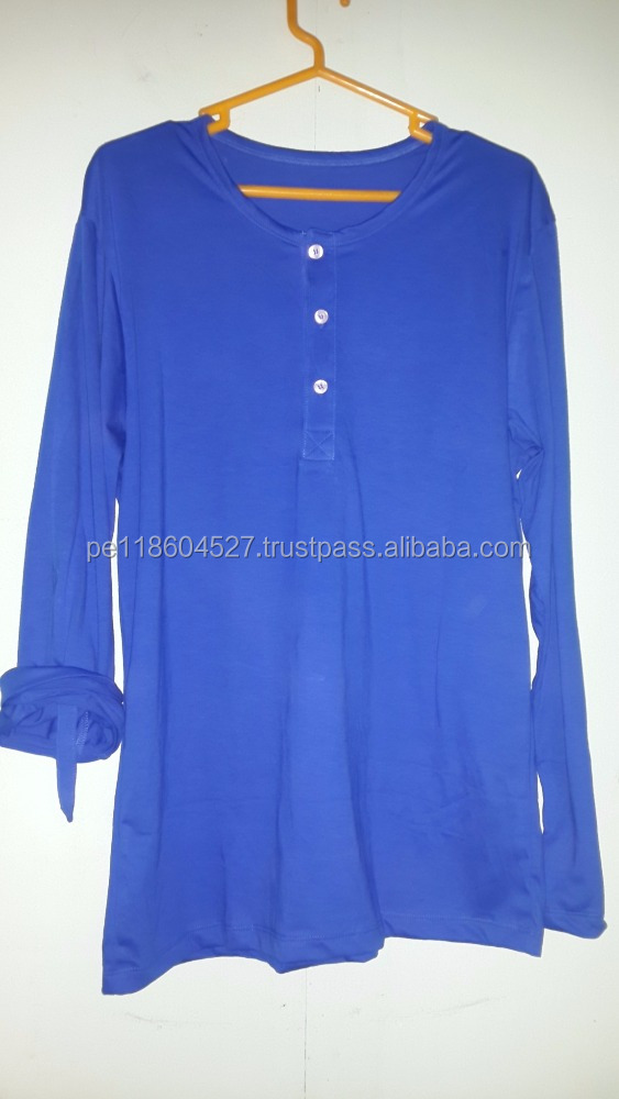 Cotton 100% pima cotton Royal blue long sleeve half button t-shirt