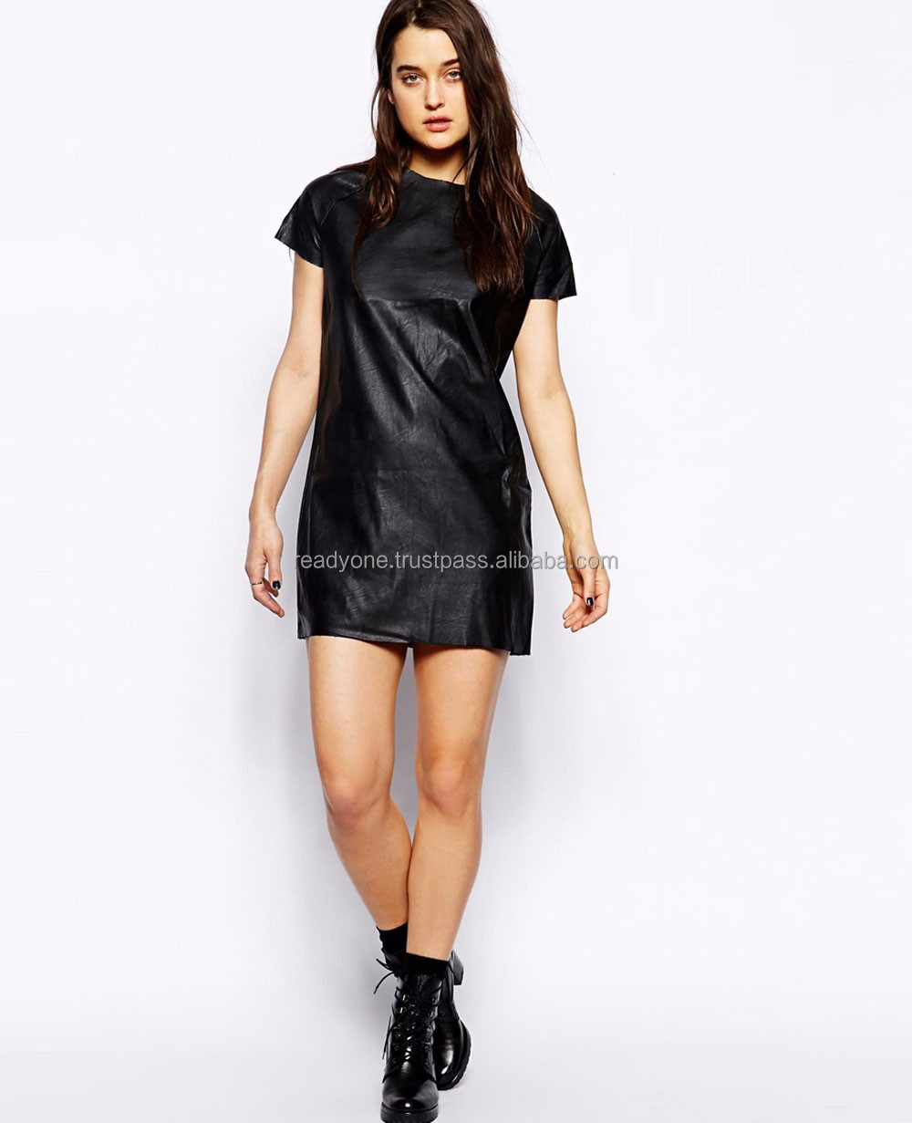 OEM accept mini black womens backless leather dresses for women