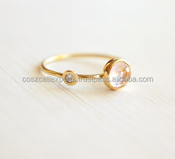 Diamond Rose Quartz Double Stone Orbit Yellow Gold Engagement Stackable Wedding Ring,