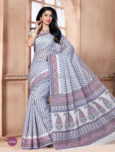 Off White Cotton Printed Saree Buy Online Shop