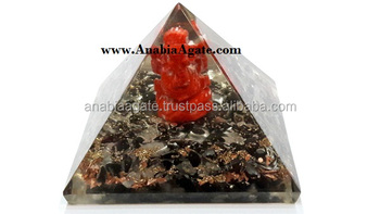 Black Tourmaline Orgone Pyramid With Red Jasper Ganesha : Orgone Pyramid @ Low Rates
