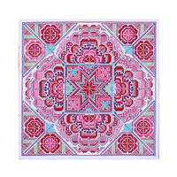 Fair Trade Star Cross-Stitched New Hmong Textile - Pink