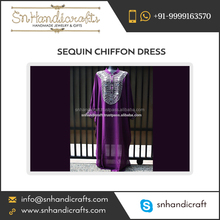 Handmade Sheer Purple Chiffon Kaftan Moroccan Wedding Party Abaya Maxi Sequin Dress
