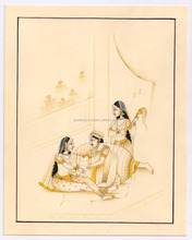 Mughal Harem Scene Painting Hand Painted Ethnic Art Wall Decor Original Water Color Painting