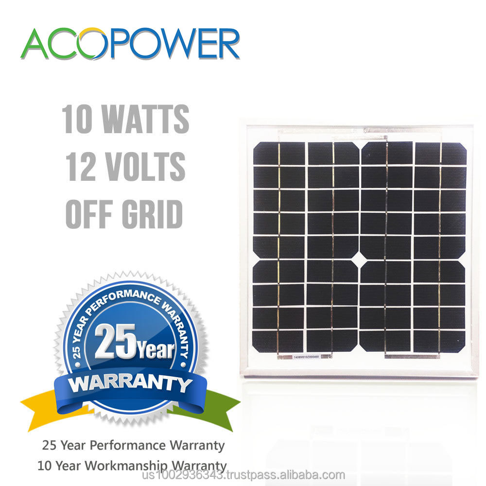 ACOPOWER 10w Monocrystalline Photovoltaic PV Solar Panel Module 12v Battery Charging