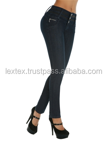 Washed fashion knitted tall women's fancy denim jeans ladies sex jeans women's fashion butt lifting skinny jeans